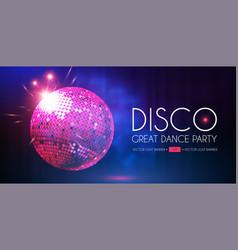 Disco party flyer template with mirror ball fog vector