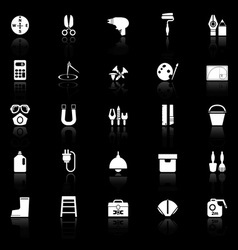 DIY tool icons with reflect on black background vector