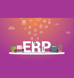 erp business concept with team people working vector image