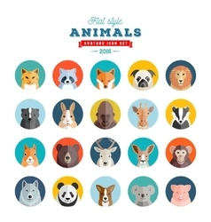Flat style animals avatar set twenty icons vector
