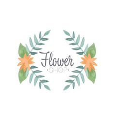 flower shop logo badge in vintage style for vector image