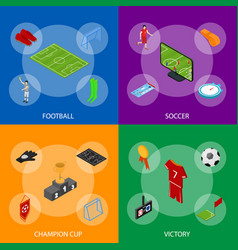 football or soccer game banner set isometric view vector image