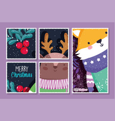 fox and deer with scarf holly berry decoration vector image