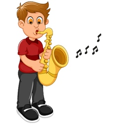 funny boy cartoon playing trumpet vector image