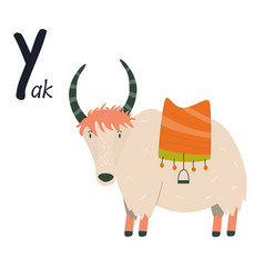 Funny image yak and letter y zoo alphabet vector