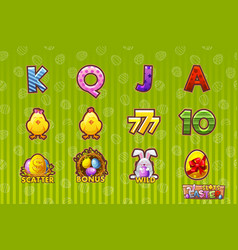 gaming icon of easter symbols for slot vector image