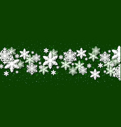 green christmas background with paper snowflakes vector image