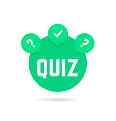 Green quiz icon with speech bubble vector