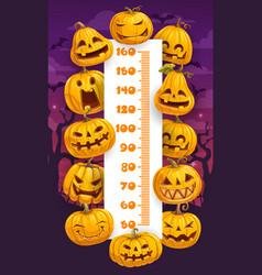Halloween cartoon pumpkins kids height chart vector