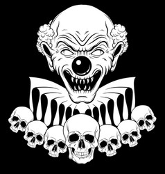 Hand drawn angry clown with human skulls vector