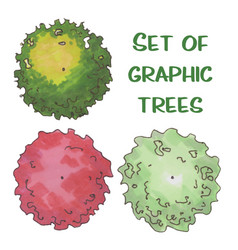 hand drawn tree top trees and bushes vector image