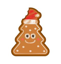 Happy bitten christmas tree gingerbread vector