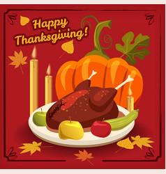 happy thanksgiving card festive dinner turkey vector image