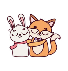 happy valentines day cute animals fox and rabbit vector image