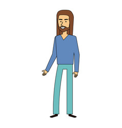 Hippie man with long hair vector