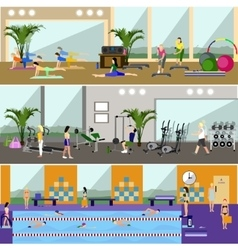 Horizontal banners with gym interiors vector image