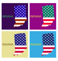 Indiana state of america with map flag print on vector