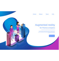 Isometric augmented reality for finance analytics vector