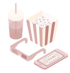 isometric movie phone popcorn soda glasses vector image