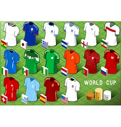isometric uniforms set soccer world cup vector image