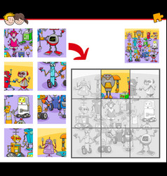 jigsaw puzzles with funny robot characters vector image