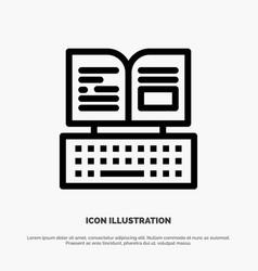 Key keyboard book facebook line icon vector