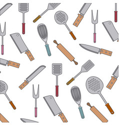 kitchen utensils colorful pattern background vector image