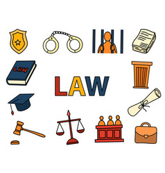 law and justice art doodle with color full hand vector image