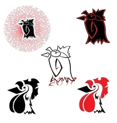 logos with the image of a rooster vector image
