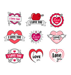 love labels badge set for valentines day vector image vector image