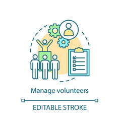 Manage volunteers concept icon vector