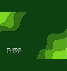modern 3d paper cut art template green color vector image