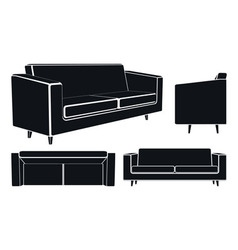 Modern Sofa Couch Different Views vector