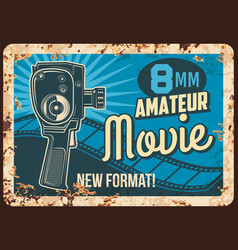movie amateur rusty metal plate rust sign vector image