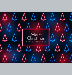 neon christmas tree pattern background vector image