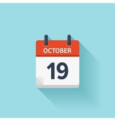 October 19 flat daily calendar icon Date vector image