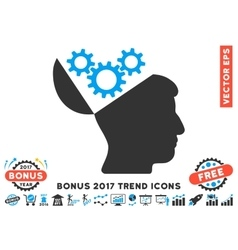 Open Mind Gears Flat Icon With 2017 Bonus Trend vector