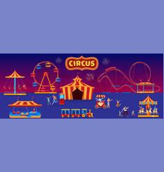 People in amusement park vector