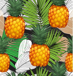 pineapples seamless patter5 vector image