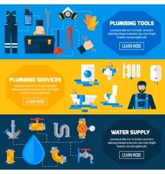 Plumber Service Flat Banners Set vector image