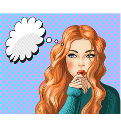 Pop art of thinking woman vector