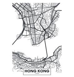 Poster map city hong kong vector