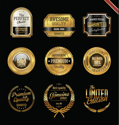 premium quality golden labels and badges vector image