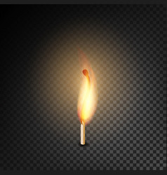 Realistic burning match burning match on vector