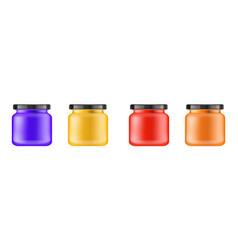 realistic multi-colored matt jar with black lid vector image