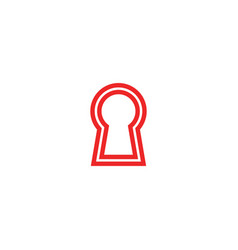Red keyhole logo design template vector