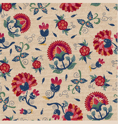 Seamless ethnic floral pattern red on beige vector