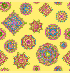 Seamless pattern from different mandalas vector