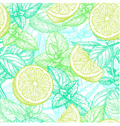 Seamless pattern with lime and mint vector
