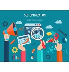 Seo Optimization Concept With Hands vector image